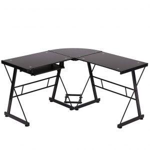 Bestmassage L Shape Corner Computer Desk Glass Corner Desk Desk With Keyboard Tray Glass Computer Desks