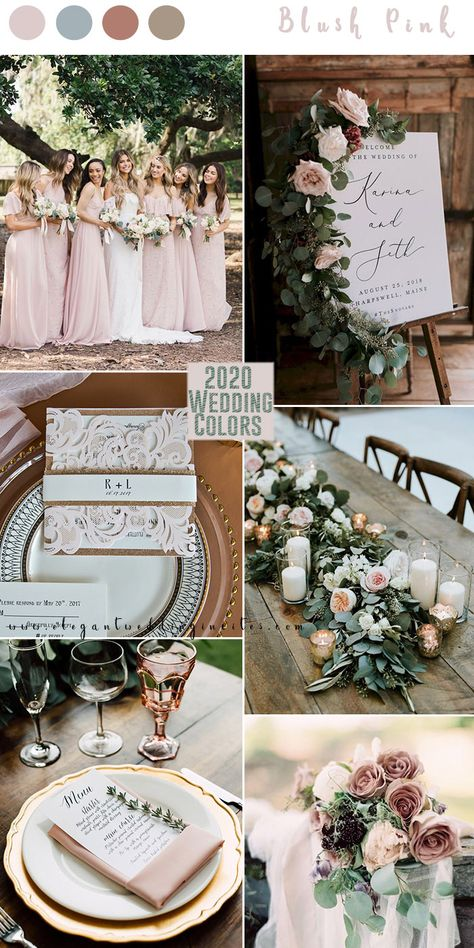 romantic blush pink and greenery with cinnamon rose hint wedding colors