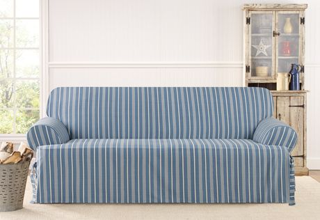 Sectional Sofa Blue on blue on white stripe Sure Fit Slipcovers Grain Sack Stripe One Piece T cushion Slipcovers Sofa T cushion