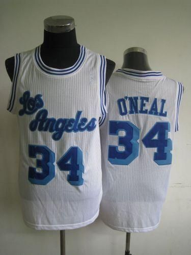 Lakers #34 Shaquille O\'Neal White Throwback Stitched NBA Jersey