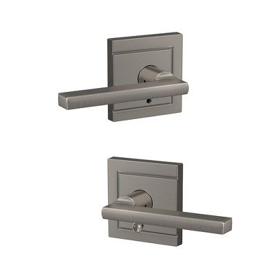 Schlage Fc21 Lat Uld Custom Latitude Passage Privacy Door Lever Set With Upland Trim Matte Black In 2020 Door Handles Door Levers Door Handle With Lock