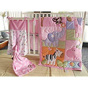 Elephant Zebra Giraffe Hippo Turtle Nursery Crib Bedding Set 9 Pcs Pink Cartoon Animals Baby Bedding Set With Diaper Stacker Amp Blanket For Baby Girl Girl Nursery Bedding Baby Girl Nursery
