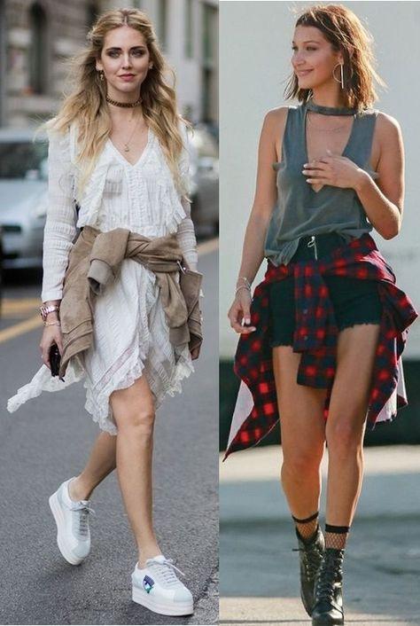 Truques de Styling que vão salvar o seu look! Looks Chiara Ferragni, Bella Hadid, vestido branco babados, jaqueta militar amarrada na cintura, tênis branco, blusa choker, short jeans preto, camisa vermelha xadrez, bota coturno preta, meia arrastão,  #looks #lookdodia #outfits #outfitoftheday #looksinspiração #blogueira #blogger #bloggerstyle #style #styleinspiration #modafeminina