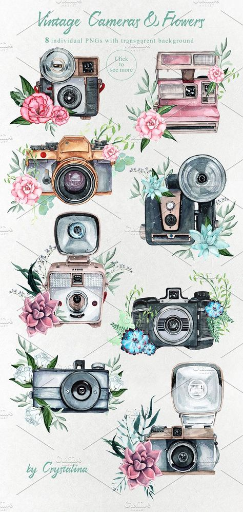Photography Vibes / vintage cameras by Crystalina - Graphic Design Illustrations Camera Painting, Camera Drawing, Camera Art, Camera Icon, Film Camera, Camera Illustration, Watercolor Illustration, Vintage Camera Tattoos, Tattoo Vintage