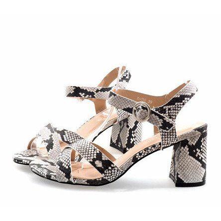 Wezowe Sandaly Na Slupku Zamsz X 116 Biale Wielokolorowe Women Shoes Womens Sandals Sandals