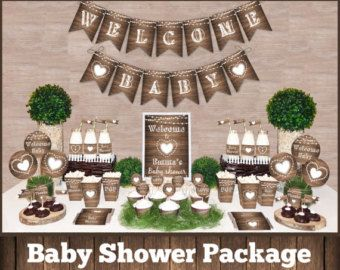 Rustic Baby Shower Decorations Printable Package Gender Neutral Baby Shower Rustic Baby Shower Decorations Rustic Baby Shower Baby Shower Decorations Neutral