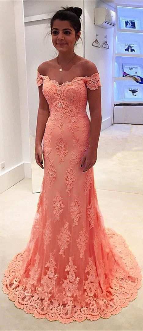 Coral prom dress, Prom dresses lace