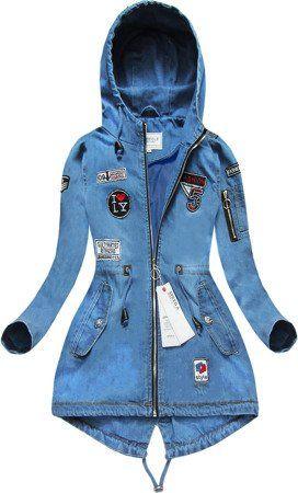 Kurtka Jeansowa Z Naszywkami Jasnoniebieska W514 Jackets Fashion Coat