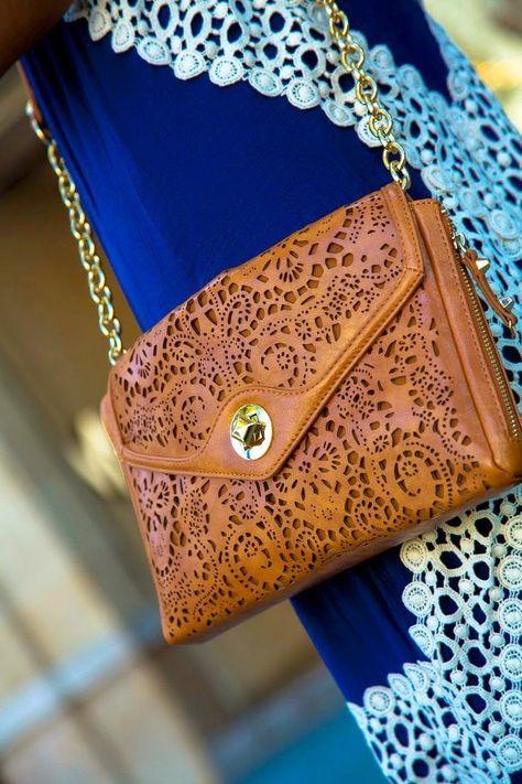 Fashionable, Brown, Laser Cut Handbag for Ladies