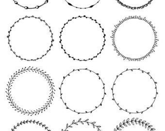 Round Frames Clipart Hand Drawn Circles Clipart Floral Boho Tribal Doodle Clip Art Waves Leaves Flowers Digital Circle Borders Png Circulo Dibujo Circulo De Flores Manos Dibujo