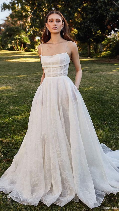 Dream Wedding Dresses Lace jenny yoo spring 2020 bridal sleeveless thin straps cowl straight neckline a line ball gown wedding dress pocket chapel train mv -- Jenny Yoo Collection Spring 2020 Wedding Dresses Wedding Dress Black, Wedding Dress With Pockets, Country Wedding Dresses, Best Wedding Dresses, Bridesmaid Dresses, Gown Wedding, Bridal Dresses, Modest Wedding, Pocket Wedding Dresses
