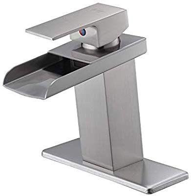 Waterfall Bathroom Vessel Sink Faucet Brushed Nickel Vesselsinkfaucets Waterfall Sink Faucet Bathroom Faucets Waterfall Vessel Faucets