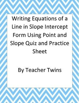 slope intercept form questions and answers  Equations in Slope Intercept Form Using Point and Slope Quiz ...