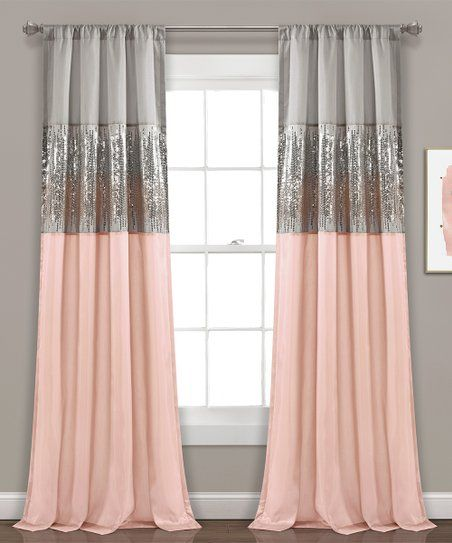 Gray Blush Sequin Embellished Curtain Panel Zulily Kids Room