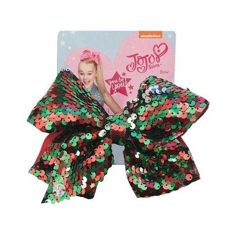 New Girls Nickelodeon JoJo Siwa Reversible Sequence Hair Bow - Red/Green
