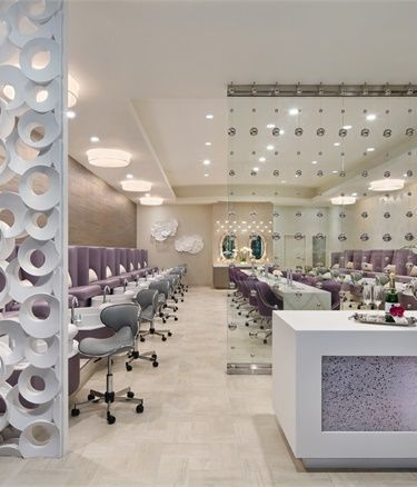 Champagne Nail Lounge Was Designed To Resemble An Upscale Lounge Where Women Would Gather For Cocktai Beauty Salon Decor Nail Salon Decor Salon Interior Design