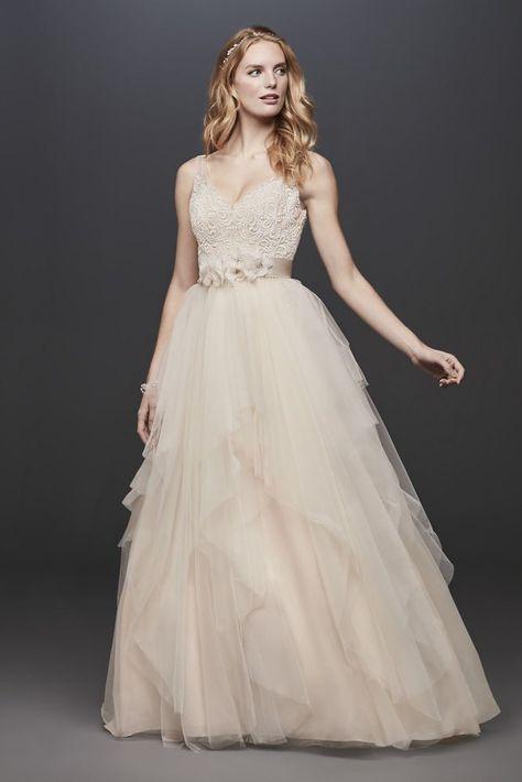 2ae50d60d46bd Off-The-Shoulder Eyelash Lace Sheath Wedding Dress   David's Bridal