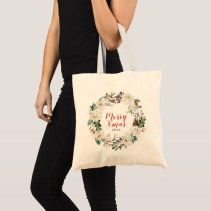 Flower Girl  gift Wedding Tote Bag Custom Wedding Tote Bag Bridesmaid Bag Monogram Tote Bag Green Wreath