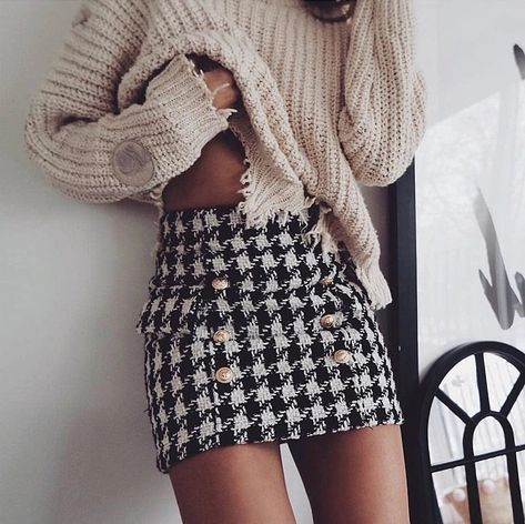 on the photo to SHOP this skirt :) New black white plaid sexy mini pencil skirt high waist women houndstooth winter sexy fall autumn ladies outfit mini sexy buttons checked skirt outfit ideas beige pullover sweater winter look night out winter look