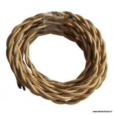 Cable Electrique Torsade Tissu Or 3 Metres Fil Electrique Montage Electrique Et Appareils Electriques