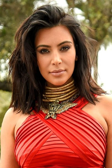 Kim Kardashian Messy Long Bob Frisur 2016 Trendige Lange Bob