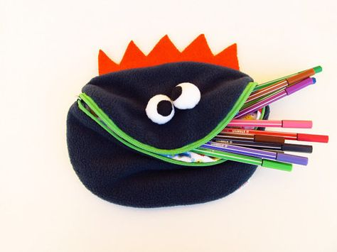 Monster pencil case boy toy bag handmade dark blue - Very cute and ez to make.  No tutorial