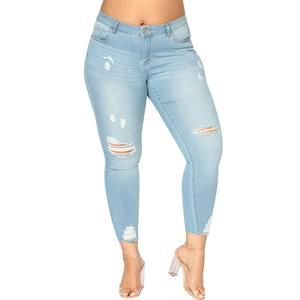 Pantalone jeans casual denim skinny leggins donna aderente beige semplice slim