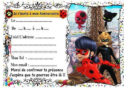 5 cartes invitations anniversaire