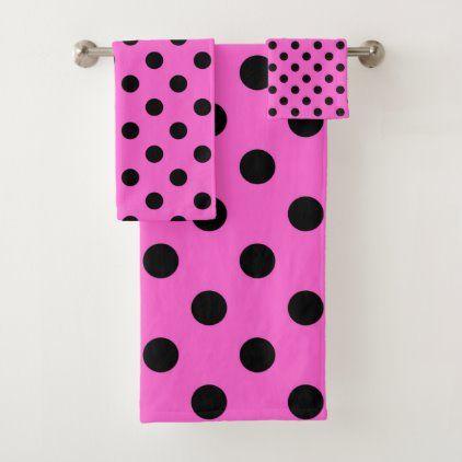 Pink Black Polka Dots Dot Bath Towel Set Zazzle Com With