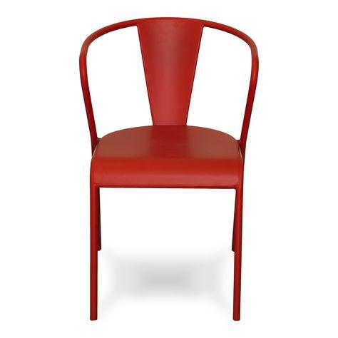 Chaise rouge en acier design Rouge - Akaros - Les chaises - Chaises et tabourets - Consoles, tables et chaises - Décoration d'intérieur - Alinéa