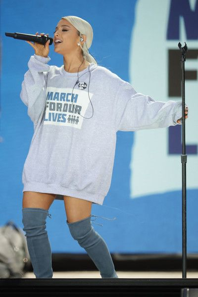 Ariana Grande performs 'Be Alright' during the March for Our Lives rally on March 24, 2018 in Washington, DC.