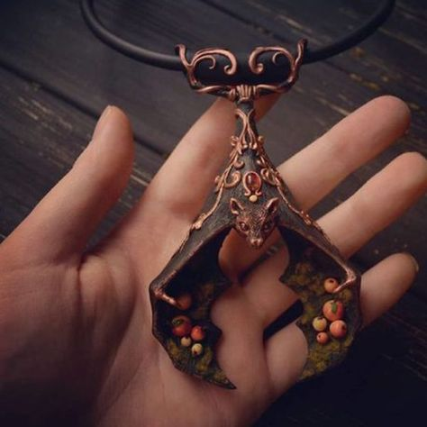 Wiccan Besom Necklace Copper Crescent Moon Star and Bat Black Kyanite Witch Broom Necklace Pagan Statement Necklace