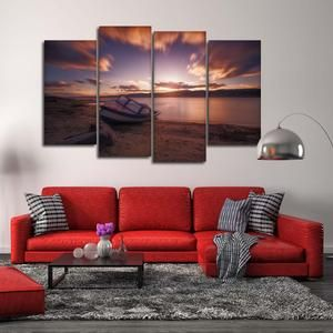 Aurora Mountain Scape Multi Panel Canvas Wall Art Boat Wall Art Canvas Wall Art Multi Panel Canvas