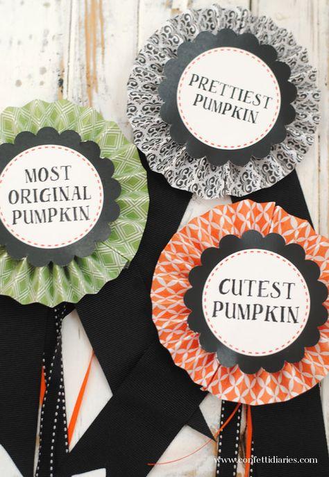 DIY pumpkin decorating contest ribbons @Katie Fogel Faith