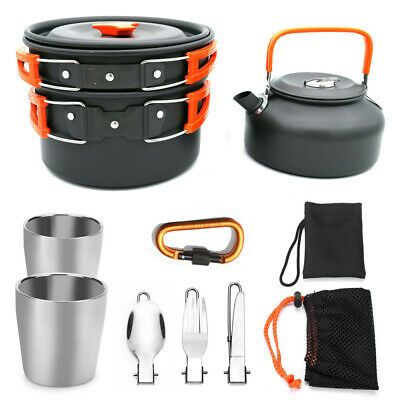 Outdoor Camping Hiking Cookware Picnic Cooking Bowl Pot Pan Set Stainless Steel