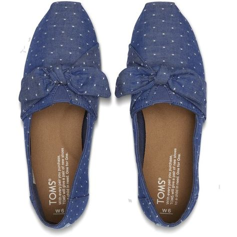 307f239286b TOMS Imperial Blue Chambray Dot Women s Bow Classics Slip-On Shoes (1 645  UAH) ❤ liked on Polyvore featuring shoes