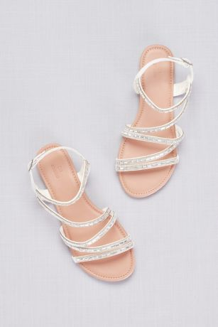 Strappy Crystal Encrusted Flat Sandals David S Bridal Silver Sandals Wedding Wedding Sandals For Bride Wedding Sandals