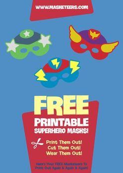Free Superhero Masks - Three free Superhero masks to go crime fighting in!