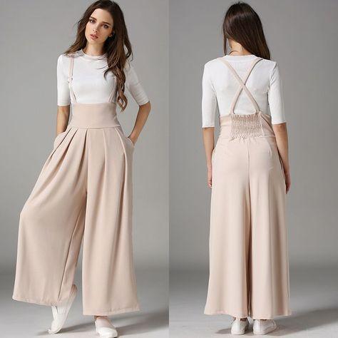 Fashion Women's High Waist Suspenders Wide Leg Pants Casual ...