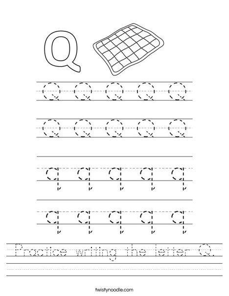 Practice Writing The Letter Q Worksheet Twisty Noodle Letter Q Worksheets Letter Recognition Worksheets Printable Alphabet Worksheets Kindergarten worksheets letter q