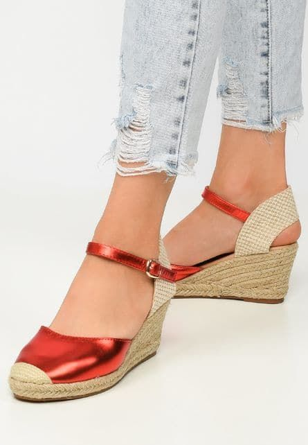 Sandale Dama Cu Platforma Rosii Lozari Rl In 2020 Sandale Incălțăminte