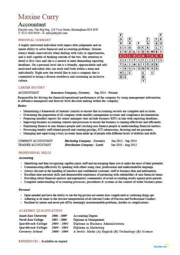 accountant crossword template | Sample resume | Accountant ...