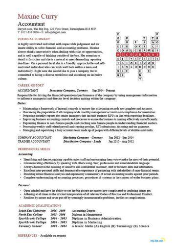 Accountant Crossword Template Job Resume Examples