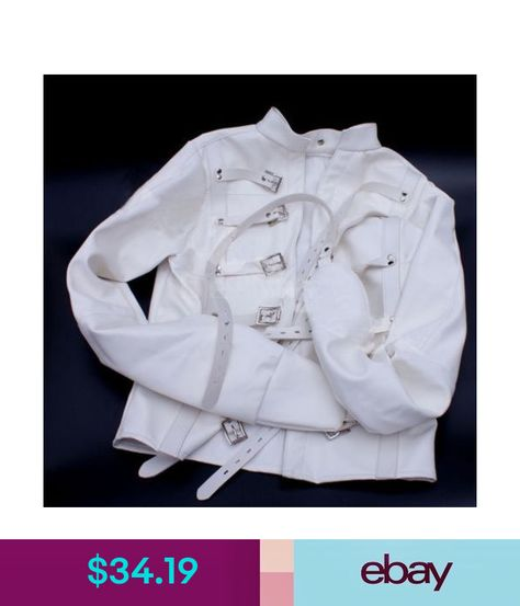 Asylum Straight Jacket Costume HARNESS Restraint Armbinder Unisex White Black