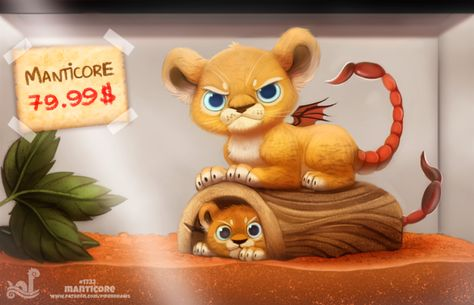 Daily Painting Monster Shop - Manticore by Cryptid-Creations