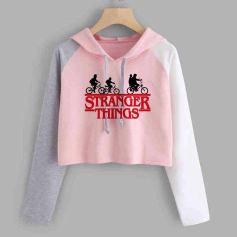 Stranger Things Cropped Hoodies Women Print Hip Hop Short Sweatshirt