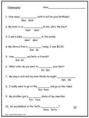 These 10 Worksheets Explain the Difference Between  Homonyms and Homophones: Worksheet #4