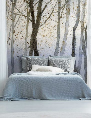 Bedroom Decor Ideas With Wallpaper Behind The Bed With Trees