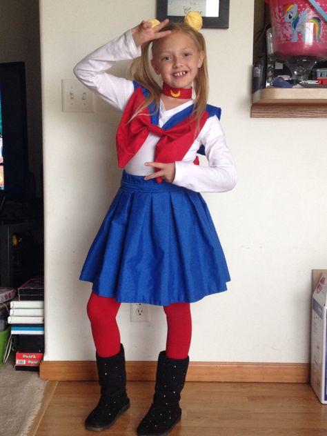 Sailor moon costume. My first homemade costume. My kid looks so cute!