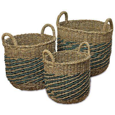 Highland Dunes Nature Seagrass 3 Piece Wicker Basket Set Trong 2020